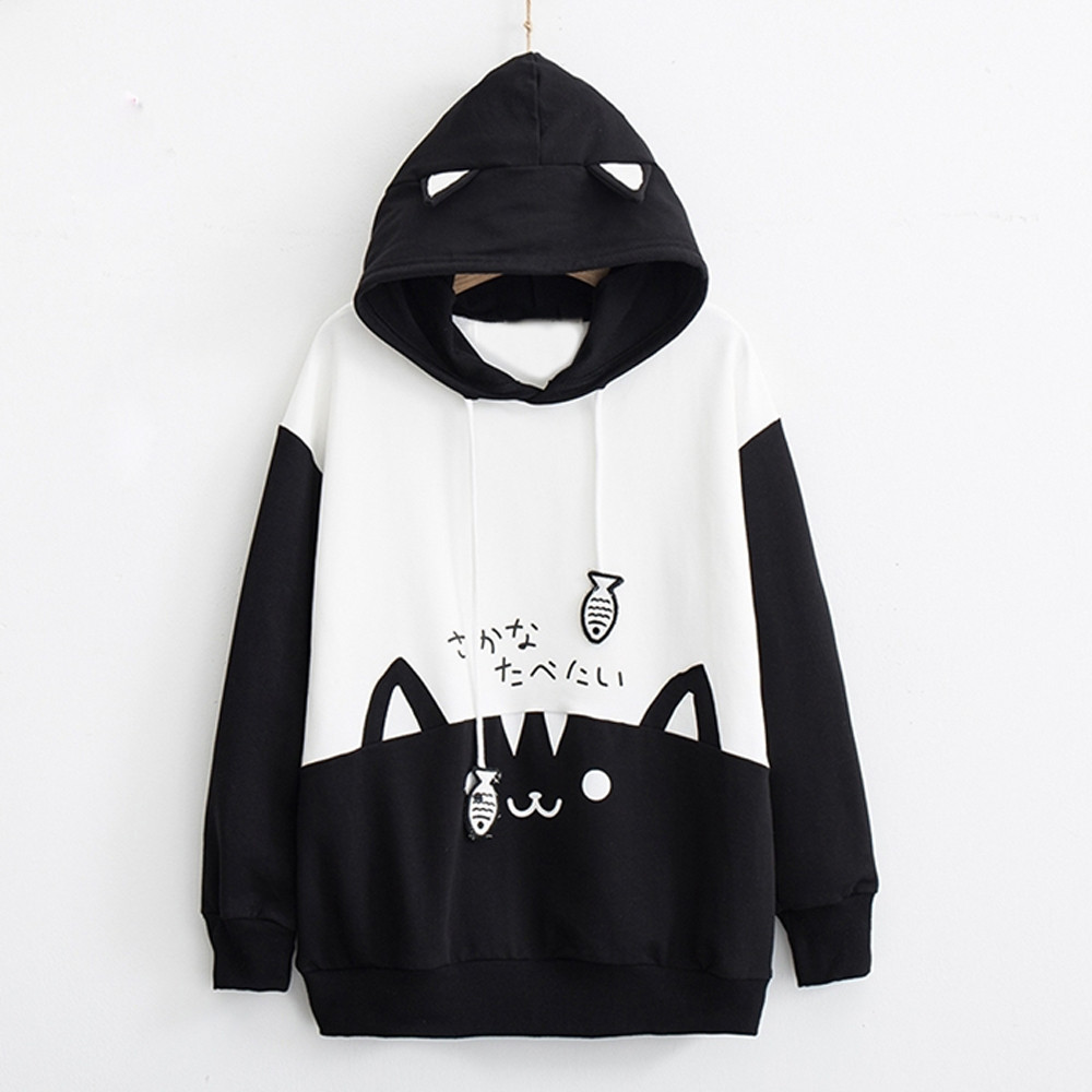 H83d5682042c743bf96b508c6e47e5363c Kpop Women Oversize Outwear Womens Casual Long Sleeve Kitty Cat Print Pocket Thin Hoodie Blouse Top Shirt Cute Loose Fleece