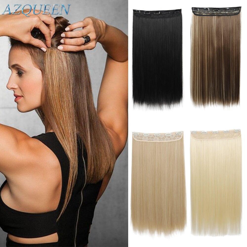 Прямые волосы AZQUEEN 5 шт./компл. 24 дюйма, 140 г, 5 зажимов, искусственные волосы для укладки, синтетические зажимы для наращивания, термостойкие