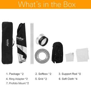 "Image 2 - 2 ADET Godox 12 ""x 47"" 30x120 cm Şerit Petek Izgara Dikdörtgen Softbox Fotoğraf Flaş stüdyo Flaş Profoto Dağı Softbox"