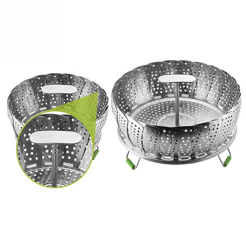Hot Sale 11 Inch Stainless Steel Steaming Basket Folding Mesh Food Vegetable Pot Steamer Expandable Kitchen Tool Basket Cooker