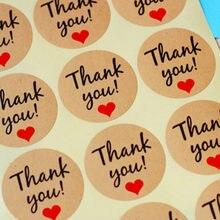 Pegatinas de agradecimiento, etiquetas redondas personalizadas, bolsa de papel de marca Kraft, 60 uds.