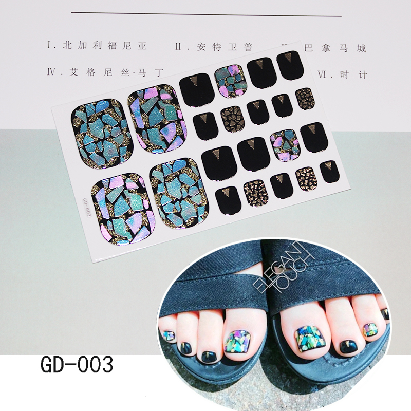 1 Sheet Multicolor Toenail Sticker Holographic Laser Sequins Nail Polish Wraps Full Cover Self Adhesive for Feet Stickers Women in Stickers Decals from Beauty Health