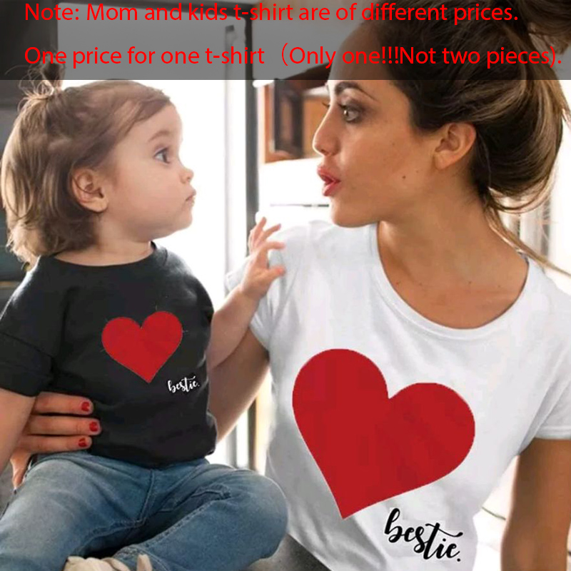 Gourd Doll/одежда «Мама и я» одинаковые комплекты для семьи для мамы и дочки футболка мягкие хлопковые топы с принтом сердца для мамы и ребенка - Цвет: White red black red