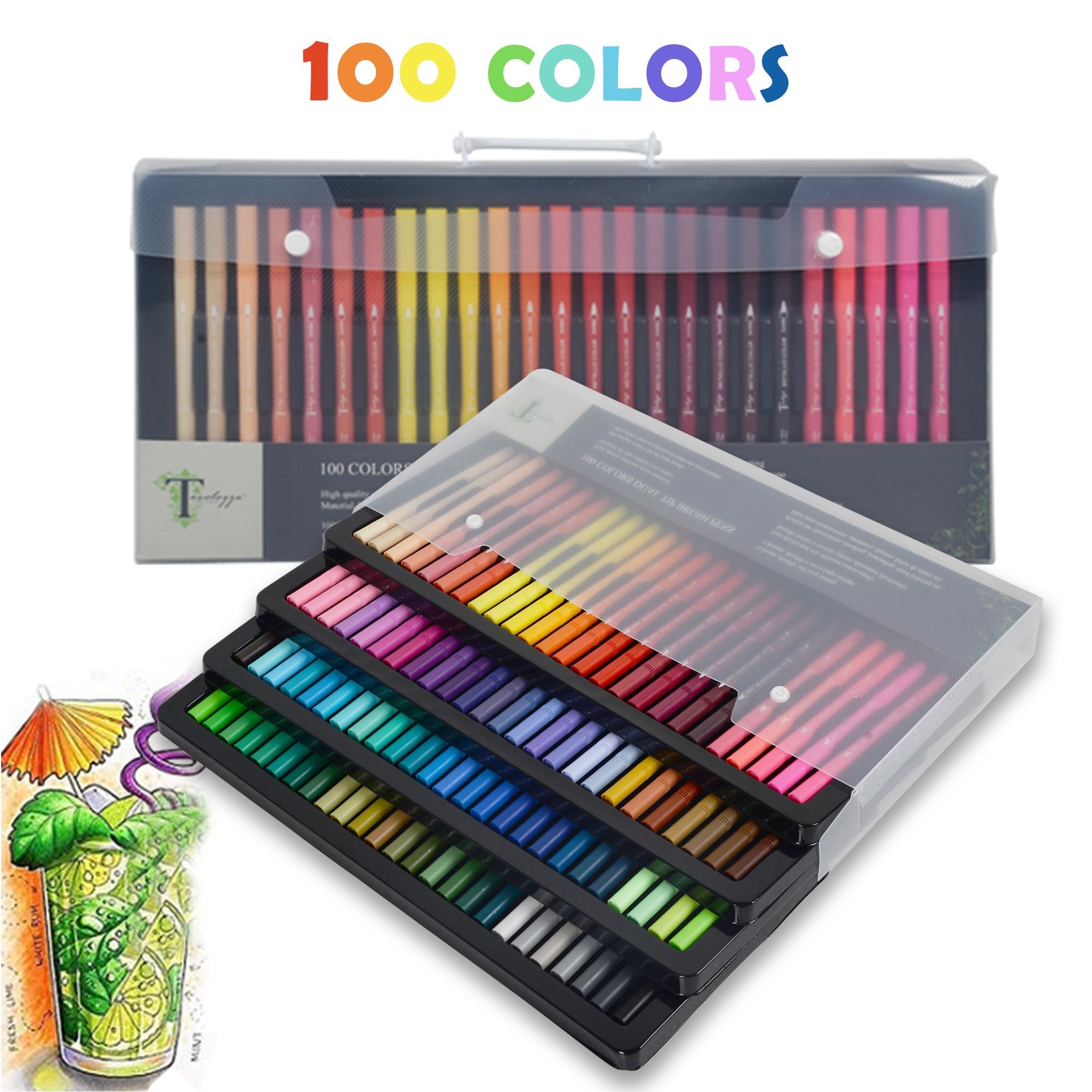 100 couleurs stylos pinceau double pointe avec pointe Fineliner (1.5mm) et pointes pinceau (6mm) pour la coloration, l'art, l'esquisse, la calligraphie, le Manga