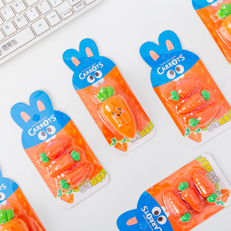 Creative Carrot Eraser Cute Writing Drawing Rubber Pencil Erasers Stationery For Kids Toy Gifts School Suppies