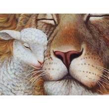Diy картина по номерам Лев и ягненок масла Раскраска Животные