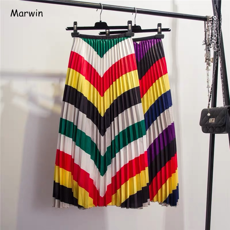 Marwin 2019 Spring New-Coming Color Matching Striped Pleated Skirt High Street Style Mid-Calf Empire Soft Fashion Women Skirts
