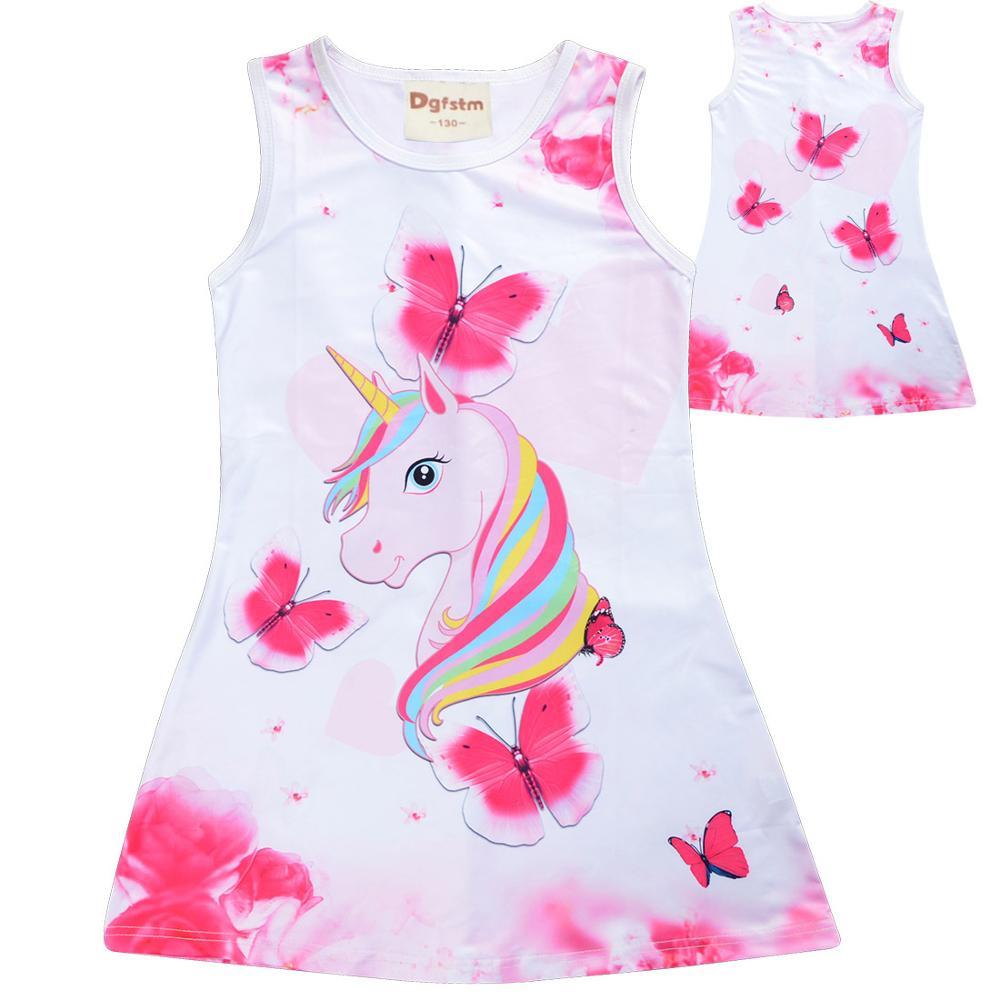 2020 Grils Dress Summer Butterfly Unicorn Print Baby Girls Dresses Party Princess Dress Sleeveless Birthday Christmas Gift Clot(China)