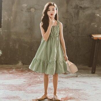Vestido de adolescente para niñas 2020, vestidos de verano para niños, vestido de Moda Verde para niños, ropa de Chica adolescente 5 7 9 11 13 15 años