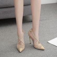 Pzilae новые женские на высоком каблуке; женские босоножки для свадьбы для вечеринки женские туфли с перекрестными ремешками туфли с ремешком на щиколотке и острым носком туфли-лодочки на высоком каблуке женский Элегантные босоножки