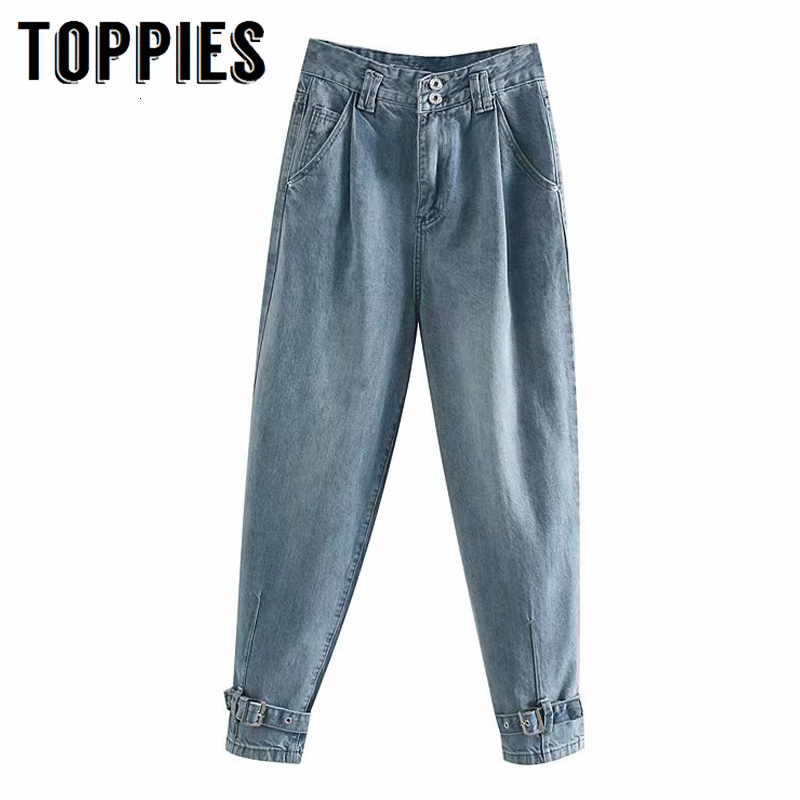Denim Pants 2020 Spring High Waist Trousers Women Vintage Blue Jeans Pants Belt Leg Opening High Steet