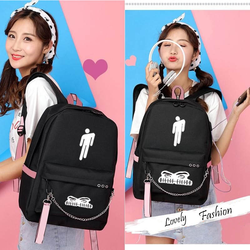 Купить с кэшбэком Billie Eilish Canvas Backpack USB Charge Women/Men Student Backpack Letters Print School Bag Teenager Girls Ribbons Backpack