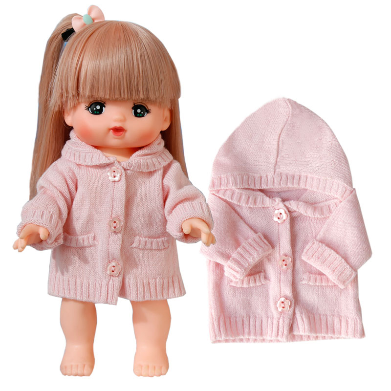 Mellchan Doll Clothes MiLo Doll 25CM Pink Sweater Unbuttoned Doll Practice Buttons Baby Clothes Doll Accessories