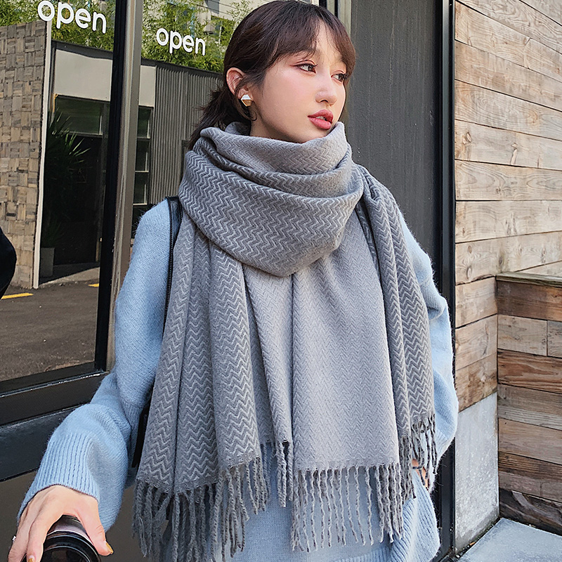 Brand Female Scarf Shawl Dual Purpose Female Autumn Winter Version Versatile Student Thickened Warm Scarf Leisure Fashion Long
