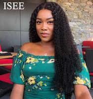 Pelucas de encaje completo rizado malayo para mujer, pelucas de cabello humano de densidad del 150%, pelucas de cabello humano Remy ISEE Hair rizado completo