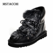 MStacchi 2020 Fur Snow Shoes Women Keep Warm Flats Plush Buty Damskie Cross Lace-Up Ankle Boots Non-slip Stivali Plus Size 34-43(China)