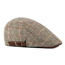 Mens Newsboy Beret Driver Hats Plaid Gatsby Cap Ivy Hat Golf Driving Flat Cabbies Men Autumn Cap Beanie