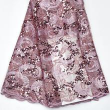 رائجة البيع الترتر صافي الدانتيل النسيج 2019 جودة عالية الأفريقي شبكة الزفاف فستان عروس الخياطة الترتر المطرزة المواد DG847