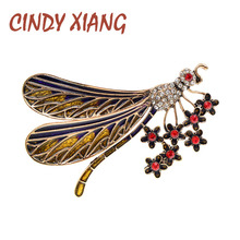 Dragonfly Brooches Jewelry Insect-Pin Cindy Xiang Crystal Vintage Enamel Fashion Women