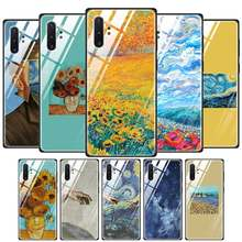 Tempered Glass Phone Case for Samaung Galaxy S10 S10E S9 S8 Note 9 10 105G Plus A50 A30 TPU Soft Edge Case Van Gogh The Starry N(China)