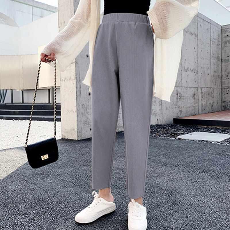 Осень зима женские шаровары Повседневные с высокой талией эластичные женские в Корейском стиле однотонные спортивные брюки
