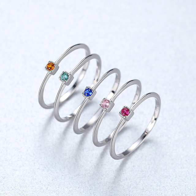 CZCITY Genuine 925 Sterling Silver VVS Green Topaz Wedding Rings for Women Minimalist Thin Circle Gem Rings Jewelry Carving S925 6