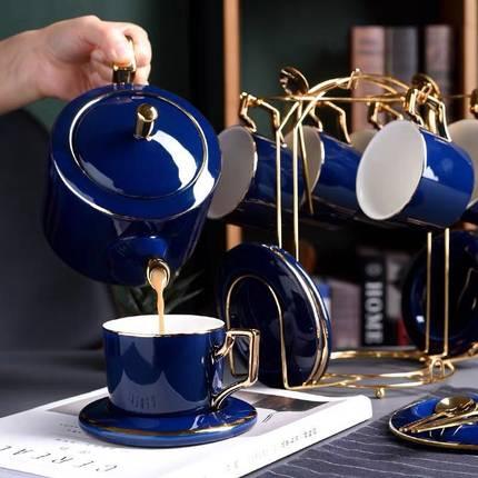 Скандинавский набор кофейных чашек сапфировый синий роскошный креативный подарок для влюбленных Золотой дизайнерский фарфор простая круж...