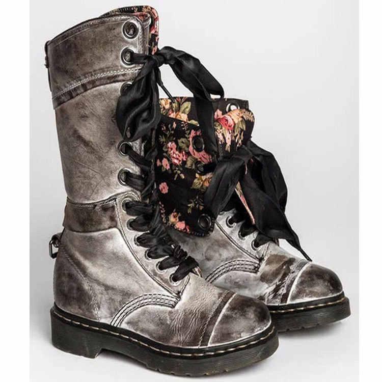 Kadın botları Vintage Retro Jason Martins botları Lace Up kadın motosiklet botları Lace Up deri orta buzağı çizmeler artı boyutu 35-43