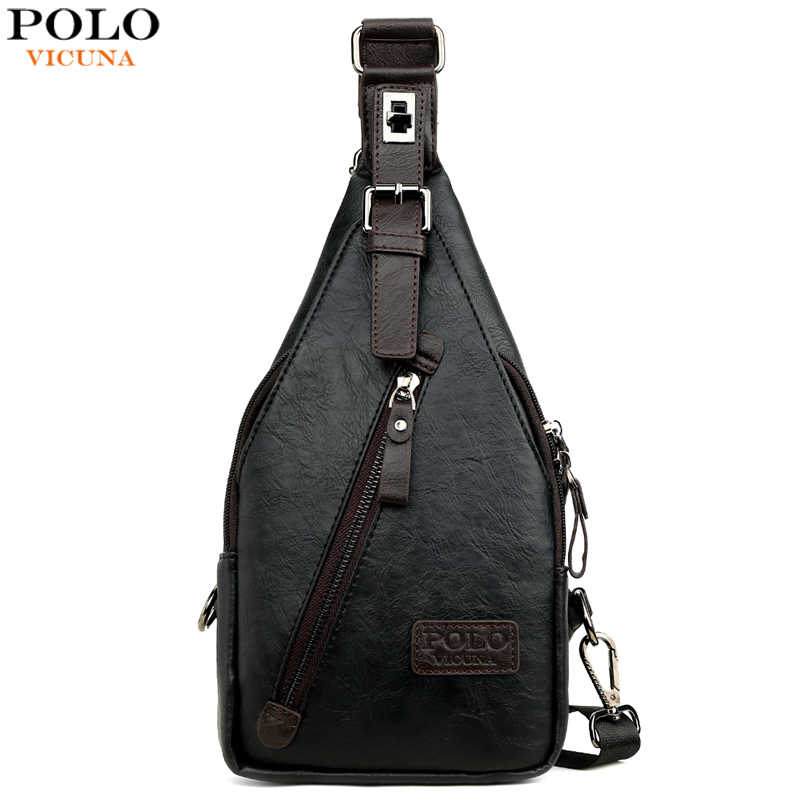 Vicuna Polo Beroemde Merk Theftproof Magnetische Knop Open Lederen Heren Borst Tassen Fashion Travel Crossbody Bag Man Messenger Bag