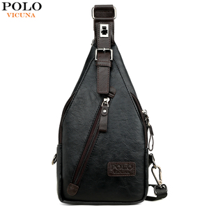 Image 1 - VICUNA POLO Famous Brand Theftproof Magnetic Button Open Leather Mens Chest Bags Fashion Travel Crossbody Bag Man Messenger Bag