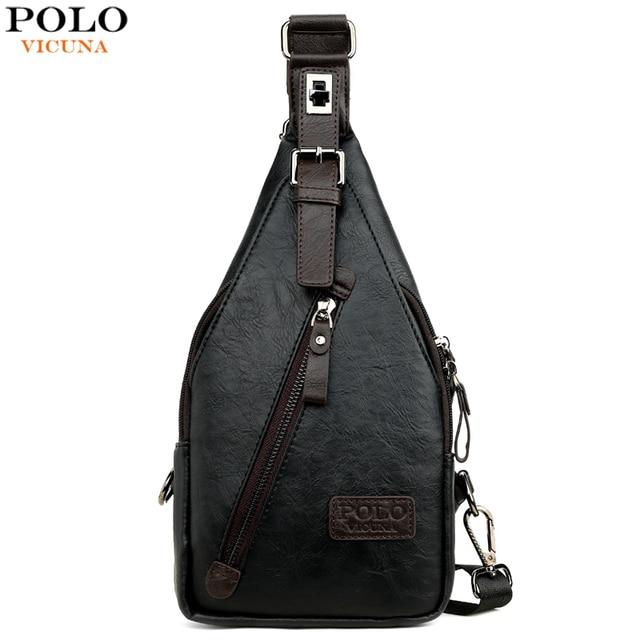 VICUNA POLO 유명 브랜드 Theftproof 마그네틱 버튼 오픈 가죽 남성 가슴 가방 패션 여행 Crossbody 가방 남자 메신저 가방