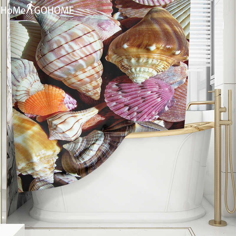 Kleurrijke Conch Print 3D Badkamer Gordijn Set Nordic Polyester Bad Scherm Waterdichte Douchegordijnen kinderen cortina de ducha
