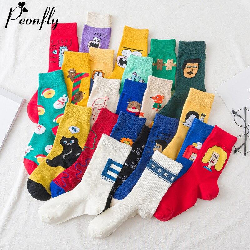 PEONFLY Novelty 2020 Women's Socks Cotton Colorful Cute Cartoon Printed Funny Happy Kawaii Socks For Girl Christmas Gift