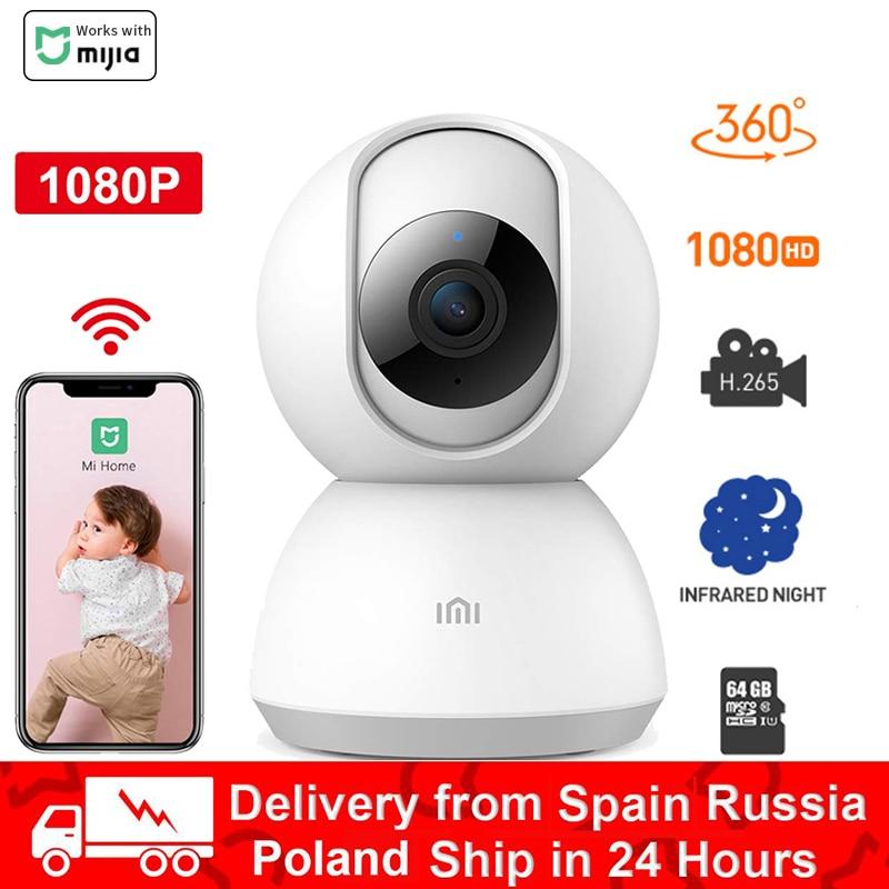 Xiaomi Mijia IP akıllı kamera 1080P 360 derece gece sürüm IP kamera Wifi bebek monitörü ses monitörü Webcam kamera video mi