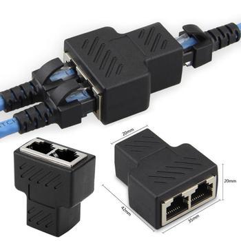 цена на 1 To 2 Ways LAN Ethernet Network Cable RJ45 Female Splitter  Extender Plug Adapter Connector For Ethernet Network Cable TSLM1