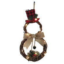 LED Xmas Door Wreath Hanging Pendants Wall Ornament Bow Snowman Tree Pattern Kids Present