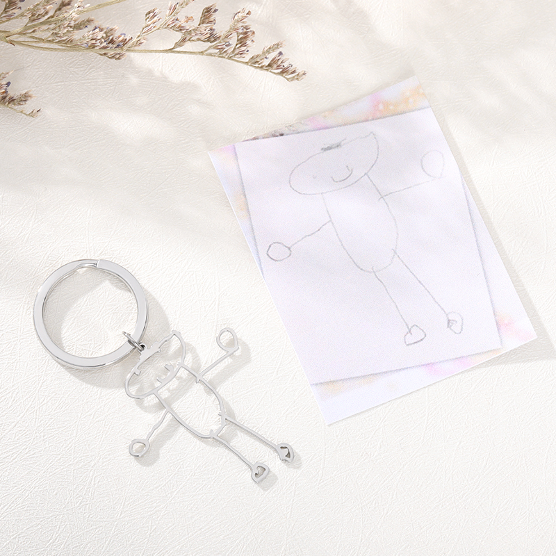 Customized Children's Drawing Keychain Kid's Art Child Artwork Personalized Keyring Custom Name Jewelry Christmas GIFT for Kids