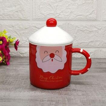 Tazas de Navidad de 400ml con tapa cuchara, taza de desayuno taza de leche de Santa Claus taza de cocina en casa Oficina vaso para zumo de frutas