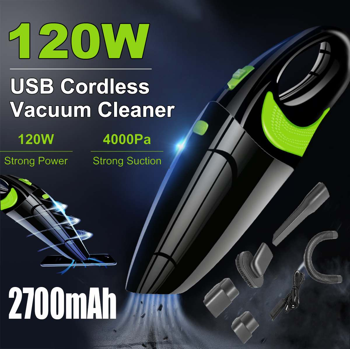 Powerful Wireless Car Vacuum Cleaner Portable Handheld 120W USB Cordless Wet&Dry Use Rechargeable Home Car Vacuum Cleaner
