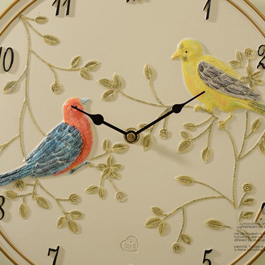 Безопасная Смола бесшумные птицы художественные настенные часы креативные простые настенные часы живопись Декор Resina классические часы де... - 4