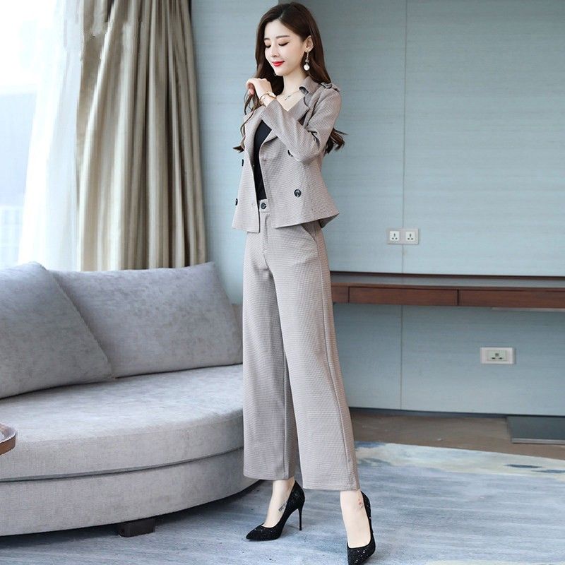 Two Piece Set Women 2020 New Elegant Office Double Breasted Short Blazer Tops Plaid Wide Leg Pants Set 2 Piece Outfits Women