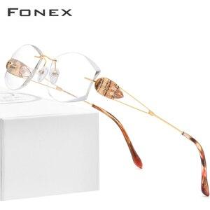 Image 1 - Fonx 와이어 티타늄 무테 안경 여성 Ultralight 럭셔리 다이아몬드 트림 처방 광학 안경 프레임 안경 8511