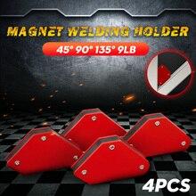 4 шт./лот 4 сварочный магнит магнитный квадратный держатель зажим со стрелкой 45 ° 90 ° 135 ° 9 анг. Фунт. Магнитный зажим для электрических свароч...