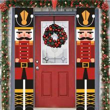 Dziadek do orzechów żołnierz Banner boże narodzenie ganek dekor drzwiowy dekoracje na boże narodzenie dla domu 2020 Xmas ozdoby Kerst Decoratie tanie tanio FGHGF Gift Box Oxford cloth as pictures European