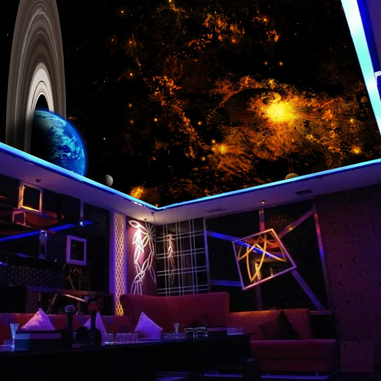 3D Star Ceiling Mural Cool Hotel Ceiling Wallpaper Bar KTV Theme Bedroom Background Wallpaper