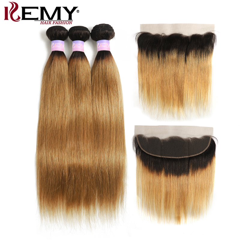 Brazilian Brown Straight Human Hair Bundles With Closure 1B/27 Ombre Color 3 Bunldles With Lace Frontal 13x4 KEMY HAIR Non-Remy
