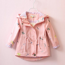 2019 New Girls Spring Autumn Windbreaker Coat Baby Kids Flower Embroidery Hooded Outwear Kids Coats Jacket Clothing High Quality