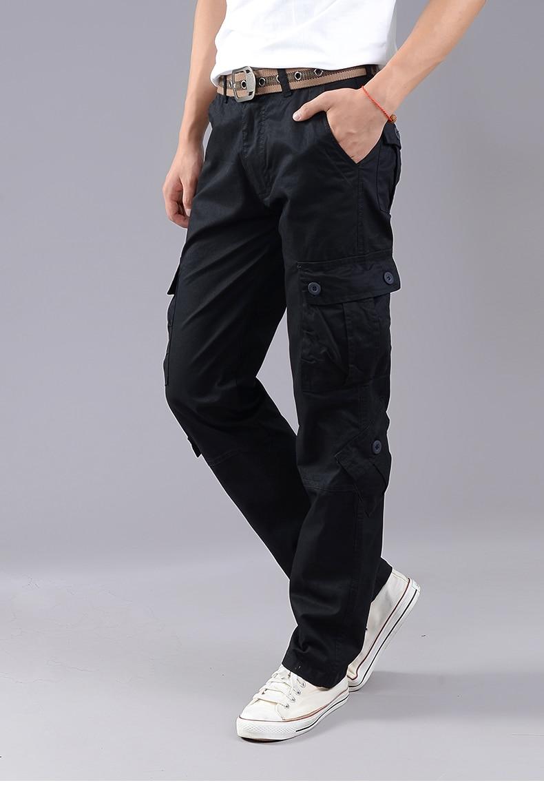 KSTUN Cargo Pants Men Combat Army Military Pants 100% Cotton 4 Colors Multi-Pockets Flexible Man Casual Trousers Overalls Plus Size 38 22