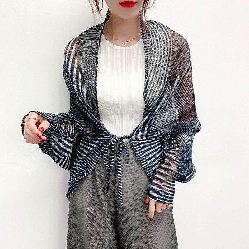 LANMREM Women's Thin Style Shawl Pleated Stripes Sunscreen Scarf Shawl 2020 Summer Fashion New Pashmina Bandage YJ195