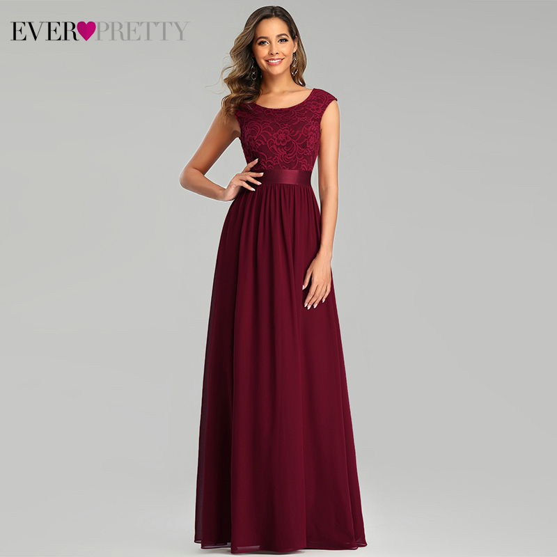 Elegant Burgundy Evening Dresses Long Ever Pretty A-Line O-Neck Sleeveless Floral Lace Formal Party Gowns Vestido De Festa 2020